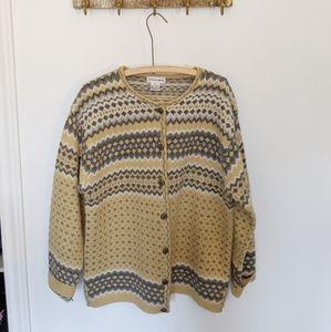Vintage | fairisle style oversized wool cardigan🌟